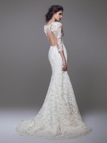 vestido de novia de encaje con espalda descubierta – vestidos de boda