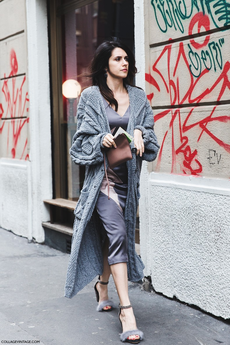 milan_fashion_week-fall_winter_2015-street_style-mfw-grey_dress-maxi_cardigan-fur_sandals-790x1185