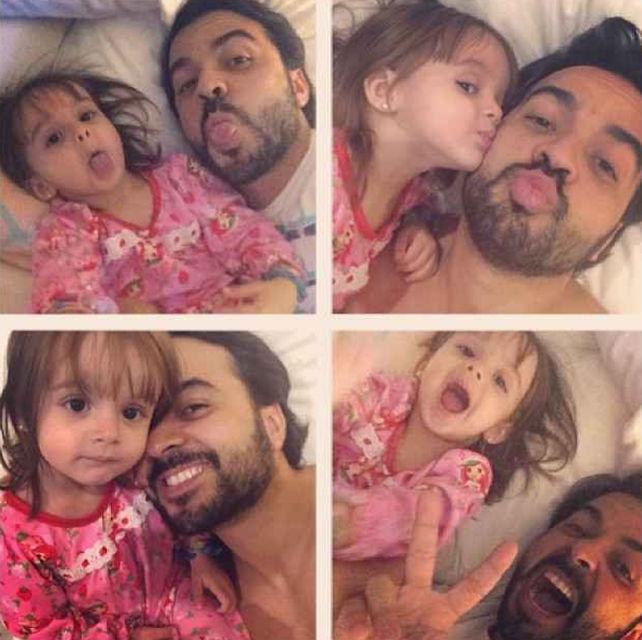 Luis Fonsi y su hija Mikaela poniendo caras graciosas