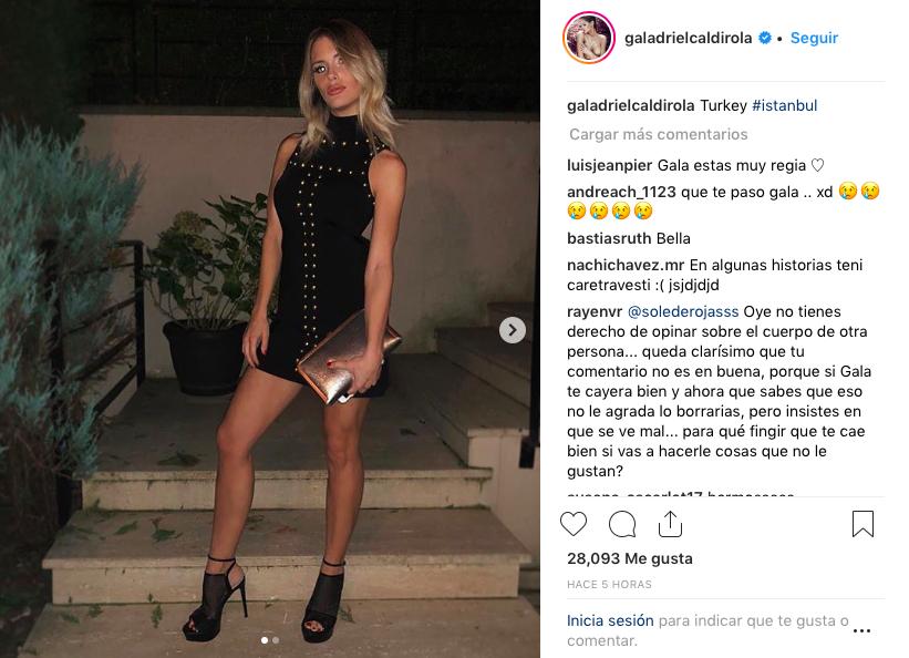 9fca79d99 Gala Caldirola es nuevamente criticada por su delgadez