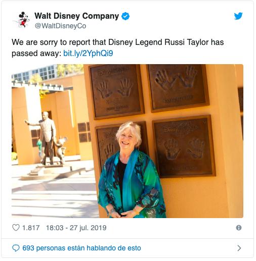 Muere Russi Taylor, voz de Minnie Mouse por más de 30 años