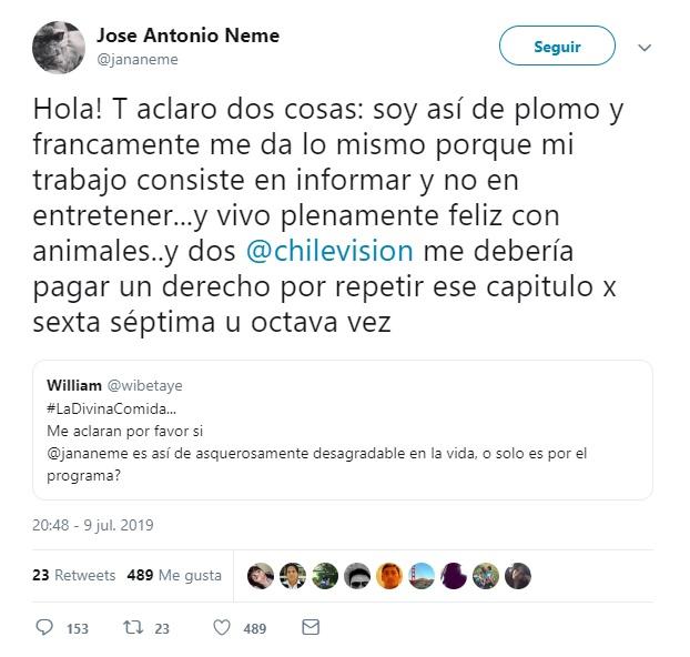 José Antonio Neme se defiende de las nuevas críticas por su actitud en
