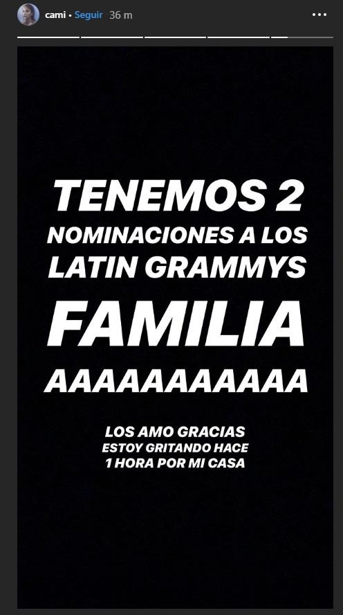 Cami es primera vez nominada a los latin grammys
