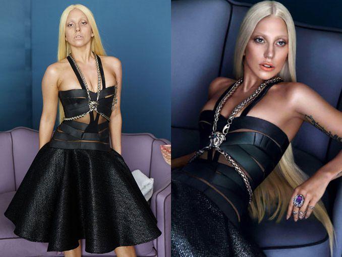 En redes circulan estas fotos del antes y despues del photoshop en lady gaga