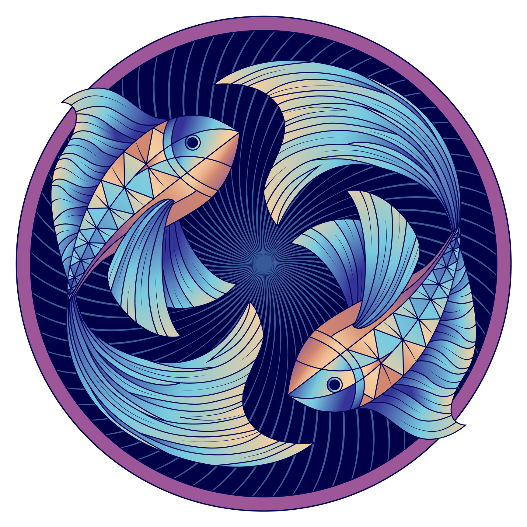 Pisces Zodiac Sign, Horoscope Symbol Blue, Vector