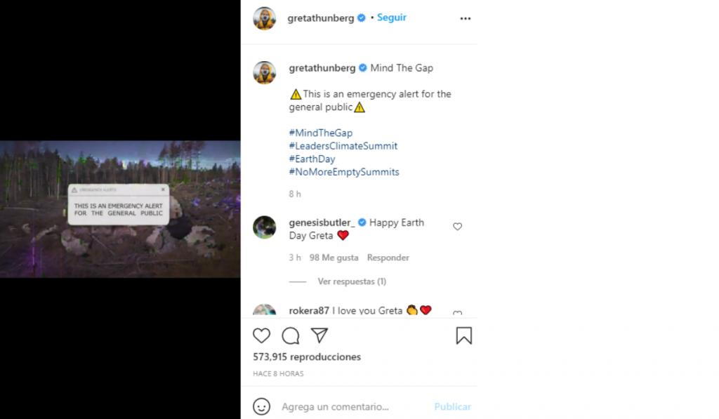Publicación de Greta Thunberg