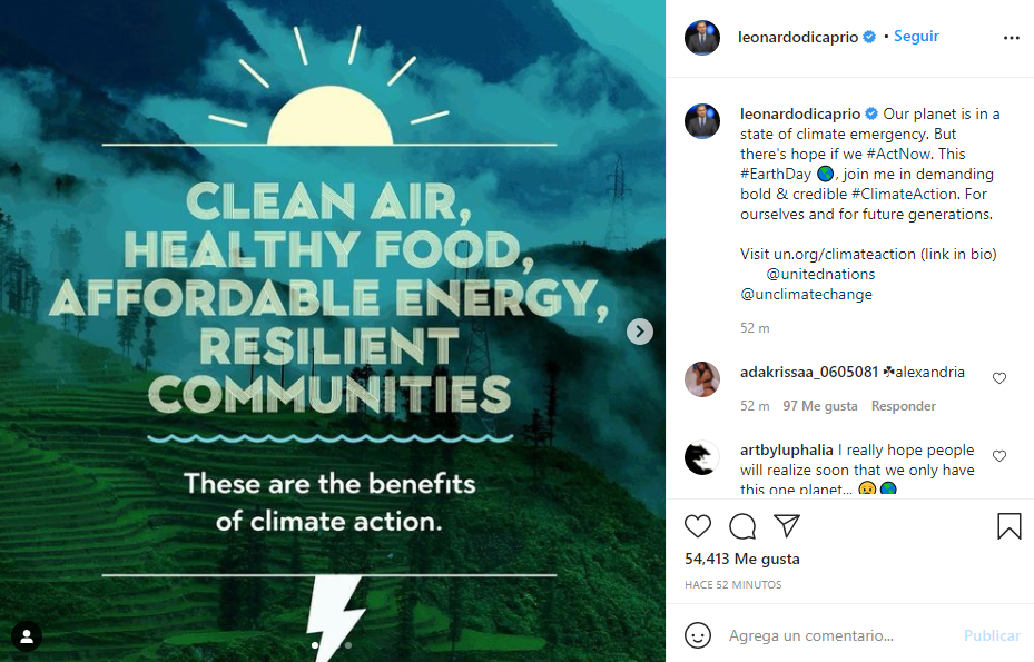 Publicación de Leonardo DiCaprio sobre el Día de la Tierra