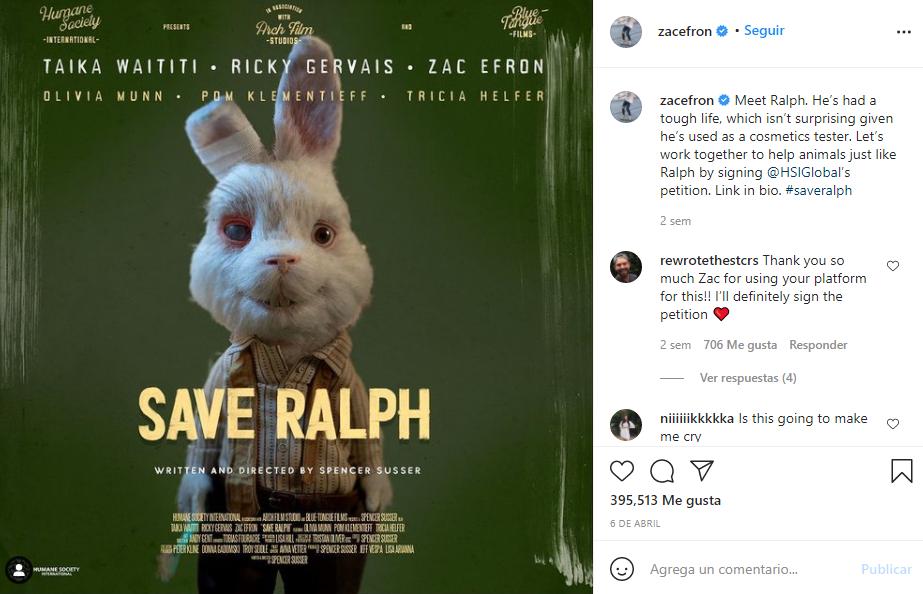 Instagram de Zac Efron