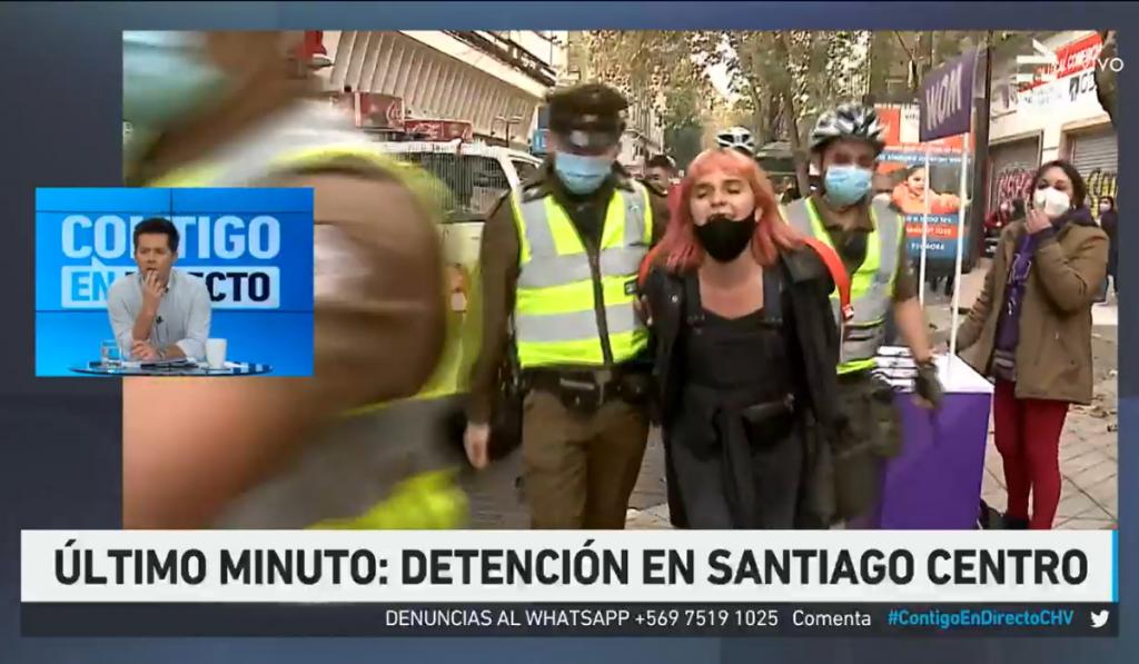Camila Moreno es detenida por Carabineros en pleno centro de Santiago