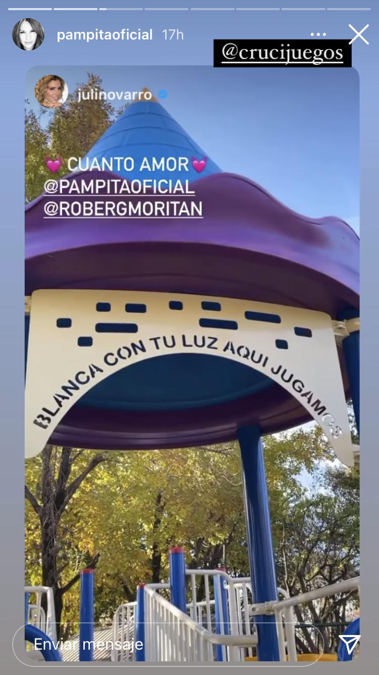 Pampita inauguró una plaza en honor a su hija Blanca en Argentina