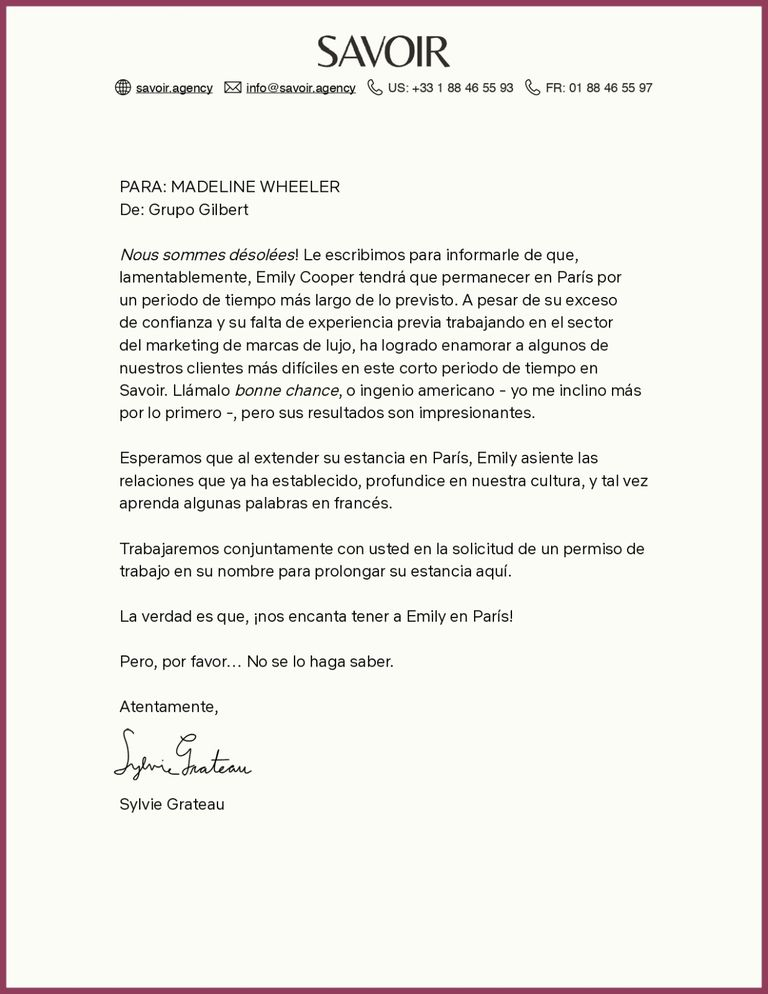 Carta Agencia Savoir Emily In Paris