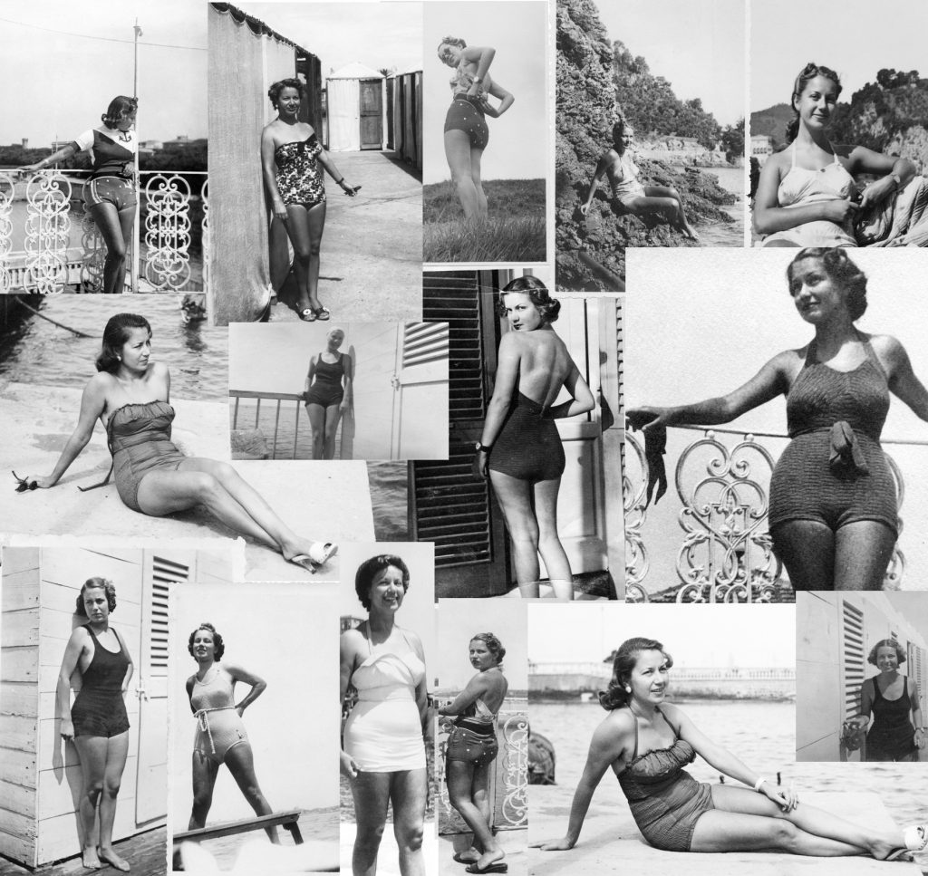 Young Woman Wearing Swimwear, From 1938 To 1960. Black And White.