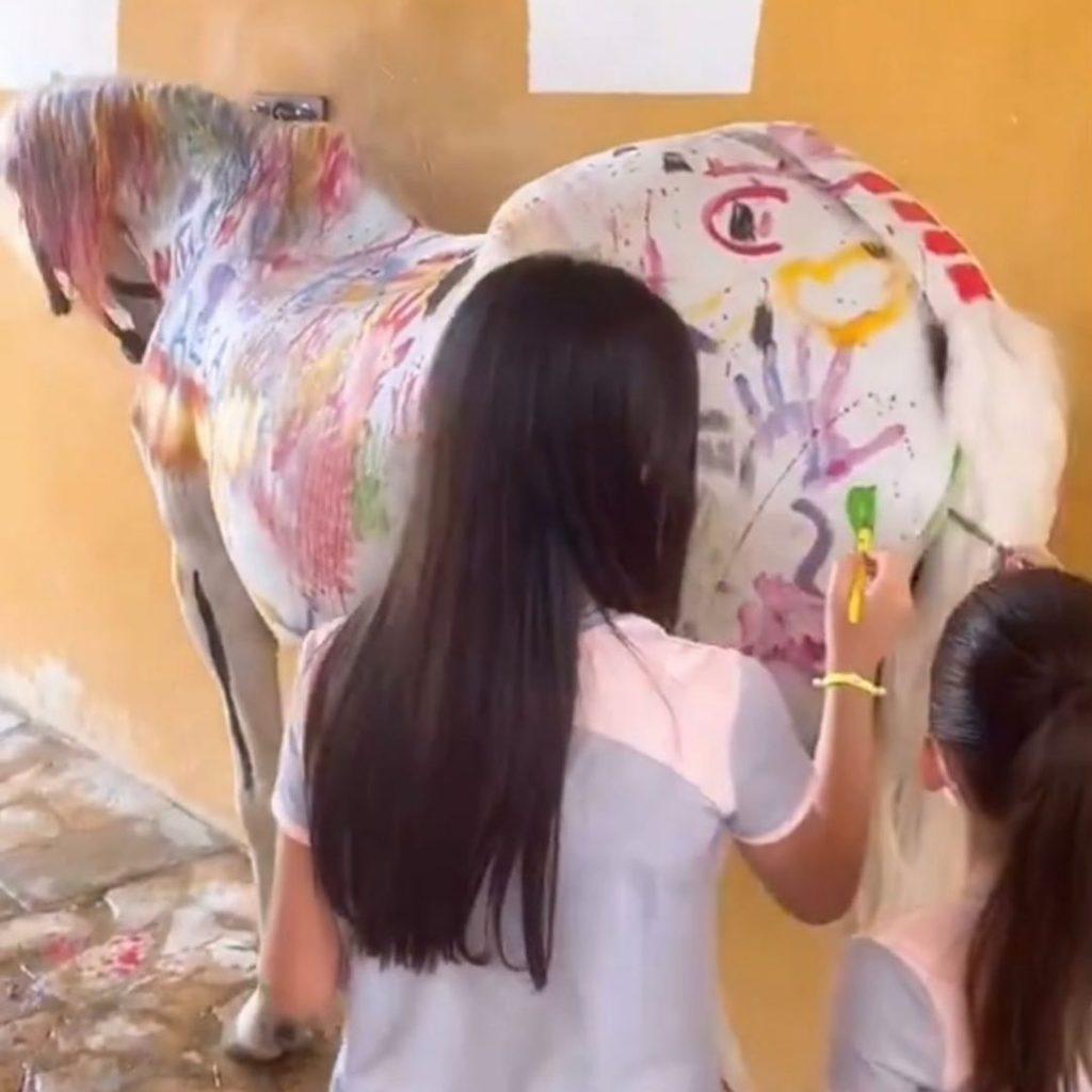 Niños De España Pintan Caballo Blanco