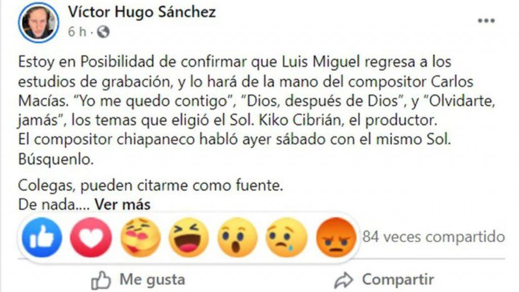 Publicación De Víctor Hugo Sánchez