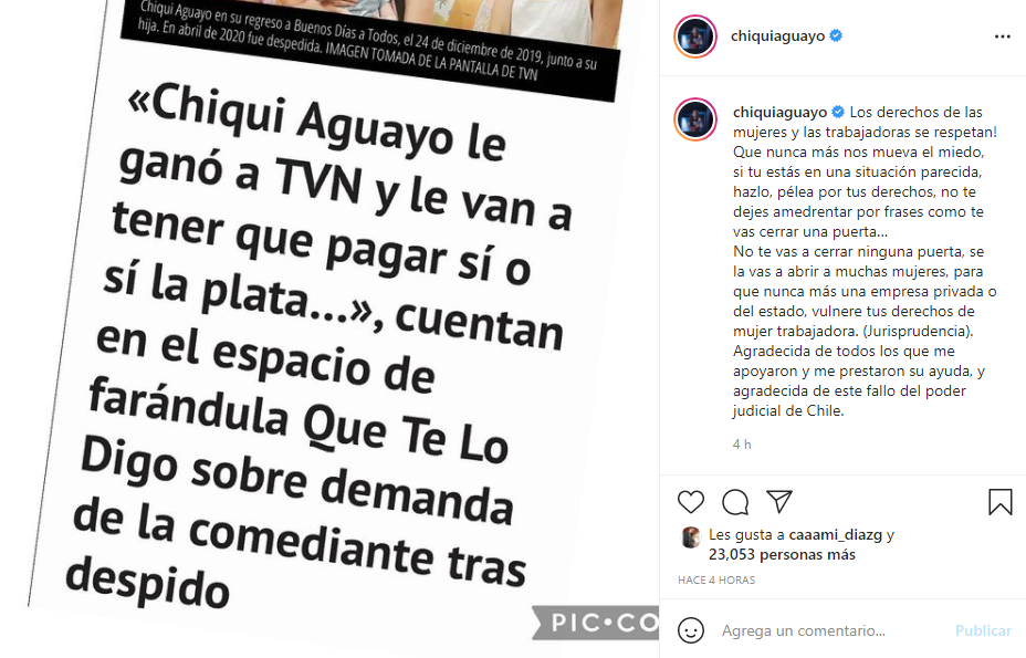 Revelan que Chiqui Aguayo ganó la demanda a TVN tras despido