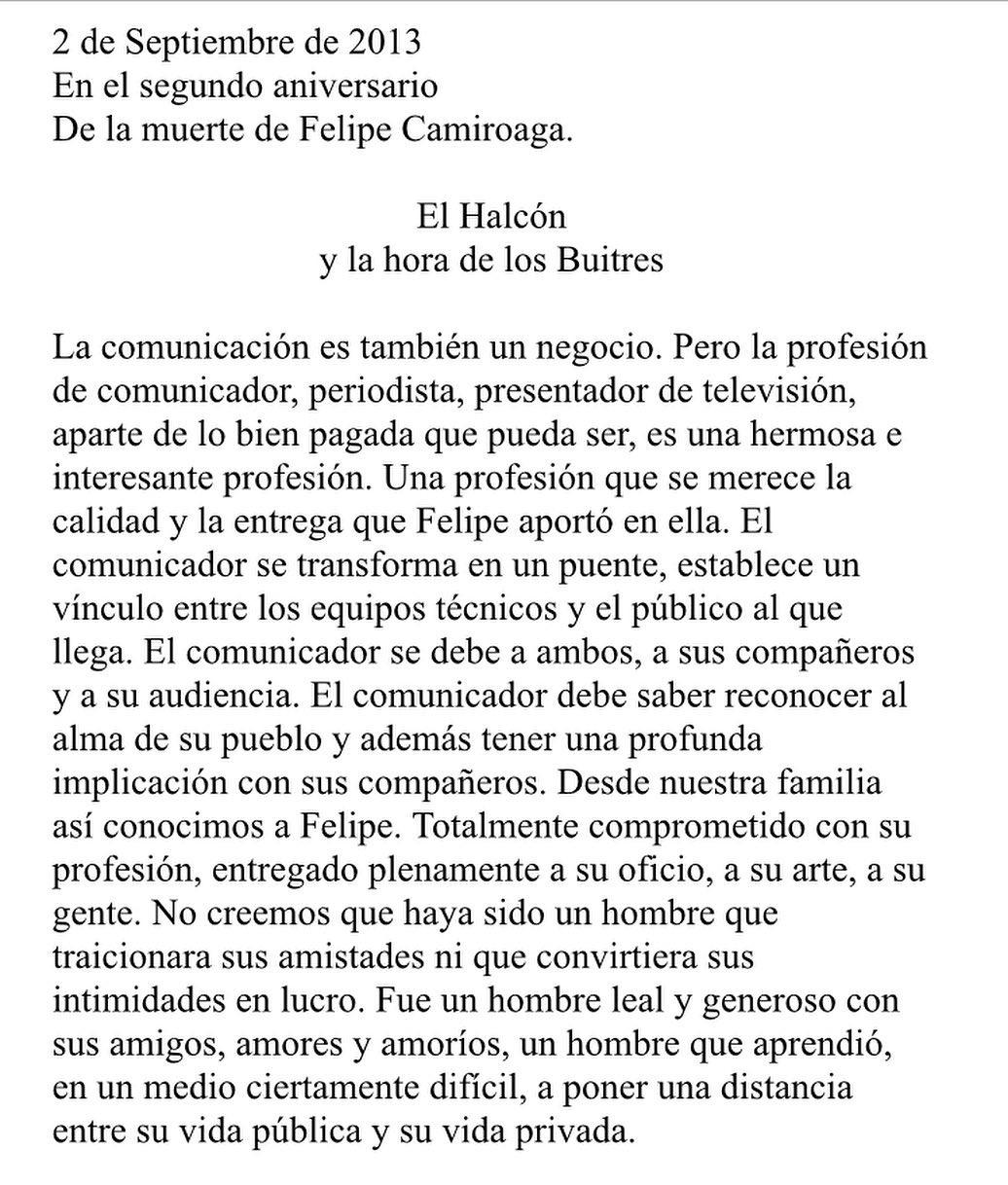 Carta Que Compartio Hermana De Felipe Camiroaga