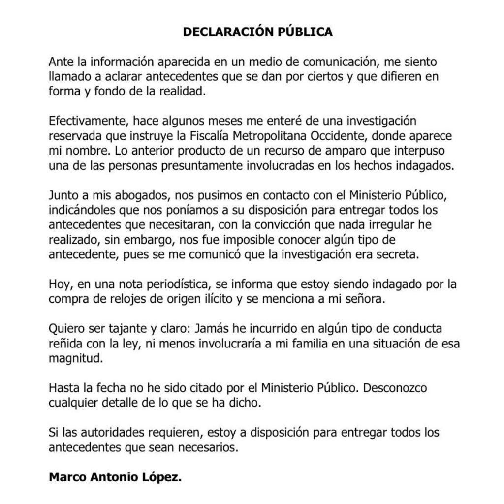 Declaración Marco Antonio López Spagui