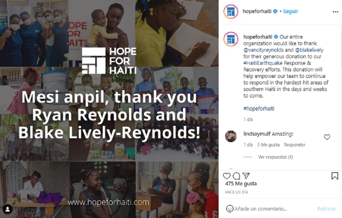 Ryan Reynolds Blake Lively Haití